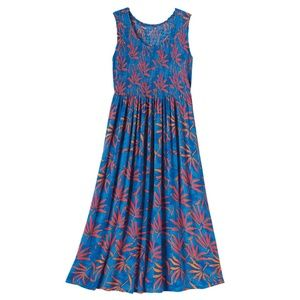 Kaktus - Smocked Bodice Dress - Blue - Size S